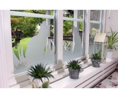 Katter och gräs, fönsterdekor som insynsskydd